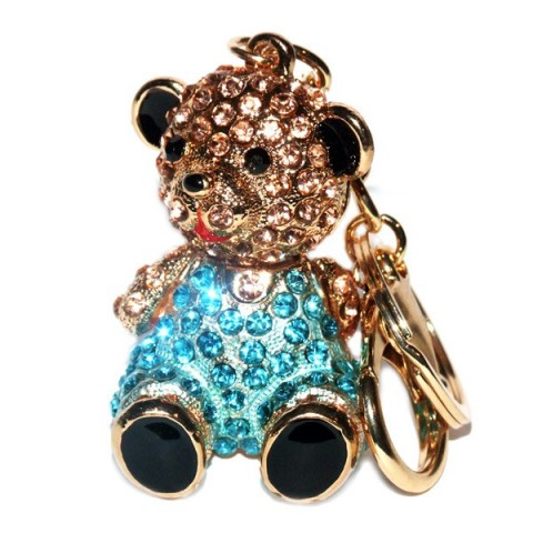 Teddy Sitting Diamante Keyring