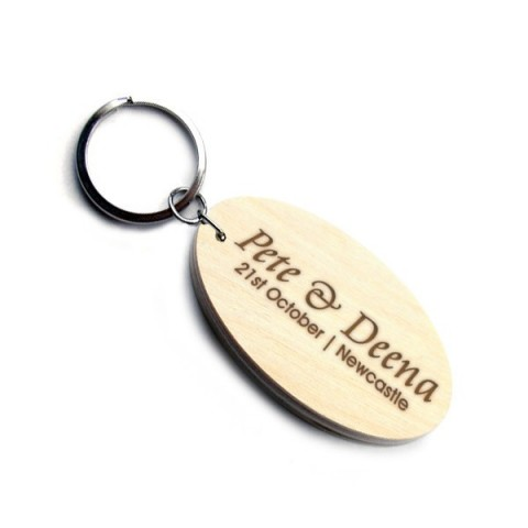 Oval Wedding Favour Wooden Keyring