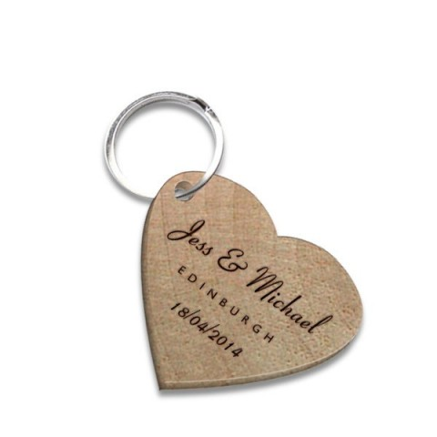 Heart Wedding Favour Wooden Keyring