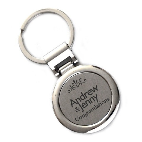 Laser Engraved Metal Circle Keyring