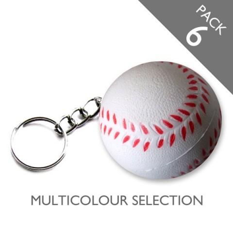 Baseball Keyrings (multicolour) - PACK 6
