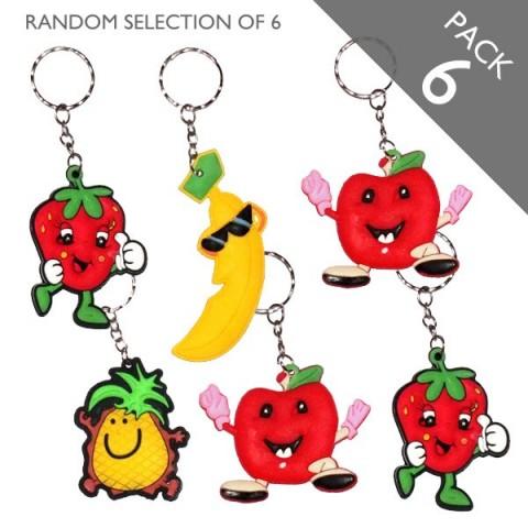 Smiley Fruit Keyrings - Pack 6