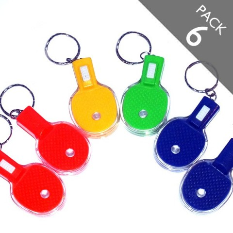 PACK 6 Table Tennis LED Torch keyring