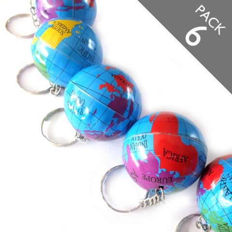 Globe Keyrings - Pack 6