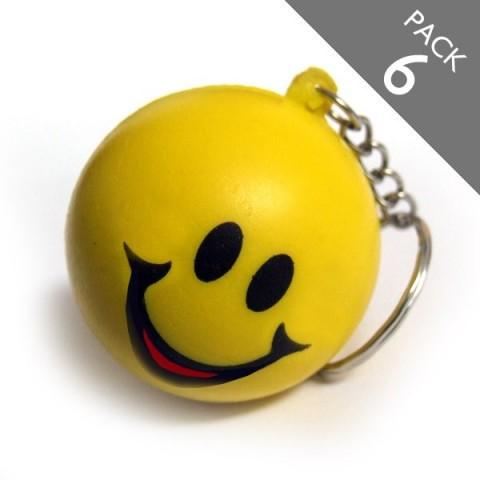 Smiley Squashy Ball Keyring - PACK 6