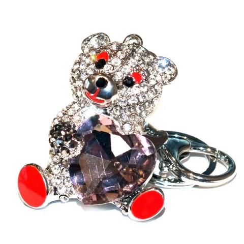 Teddy & Heart Diamante Keyring