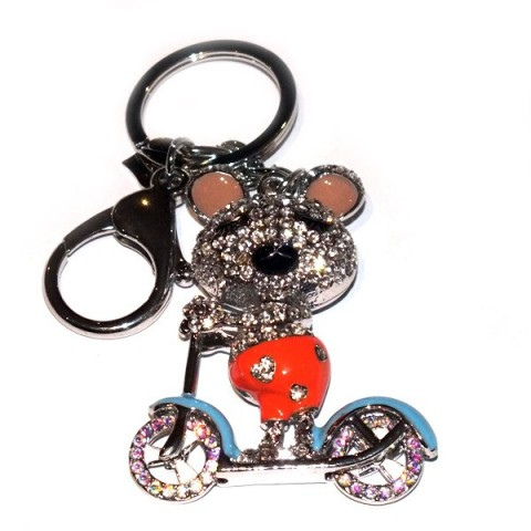 Mouse on Scooter Diamante Keyring