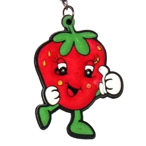 Smiley Strawberry Keyring