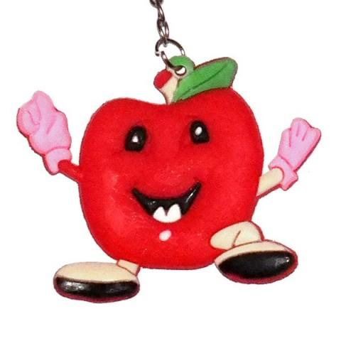 Smiley Apple Keyring