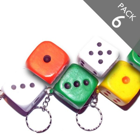 DIce Stress Keyrings (multicolour) - PACK 6
