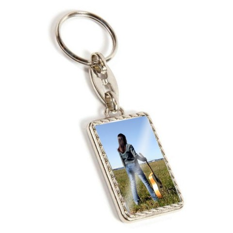 Personalised Rectangle Pattern Metal Keyring