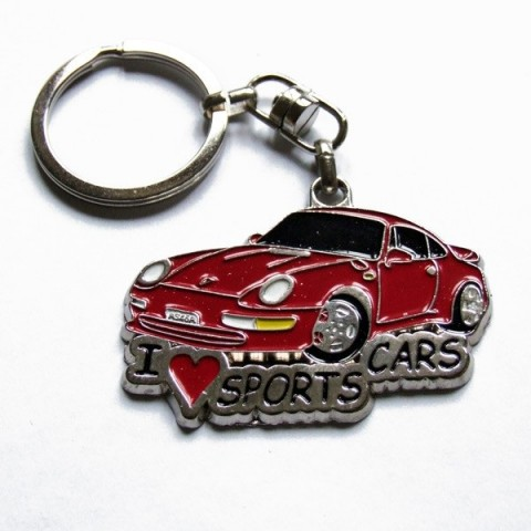 I Love Sports Cars Keyring