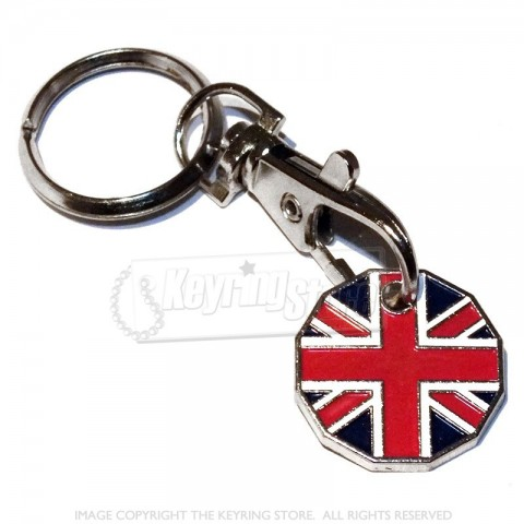 Union Jack GB Trolley Coin Keyring - 12 sided £1
