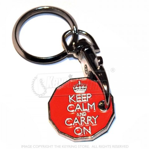 Keep Calm Trolley Coin Keyring - 12 sided £1