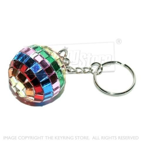 27mm Mirror Multicolour Disco Ball Keyring