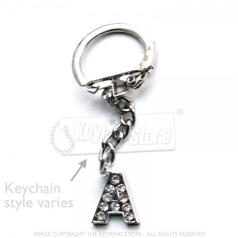 Letter A Diamante Charm Keyring