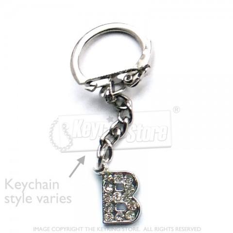 Letter B Diamante Charm Keyring