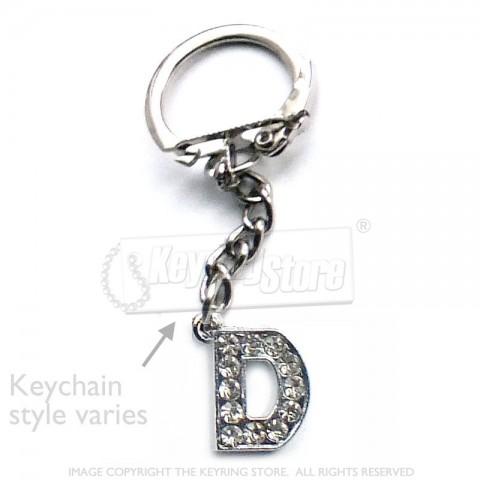 Letter D Diamante Charm Keyring