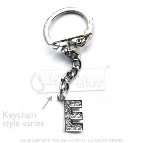 Letter E Diamante Charm Keyring