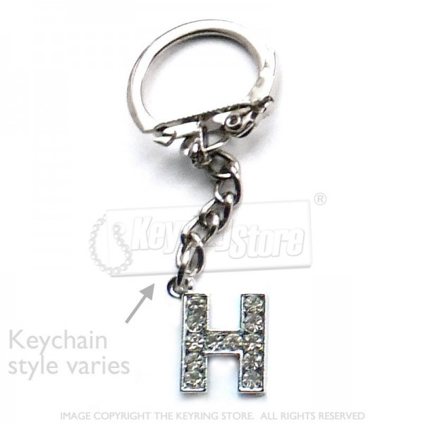 Letter G Diamante Charm Keyring