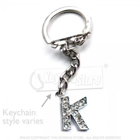 Letter K Diamante Charm Keyring