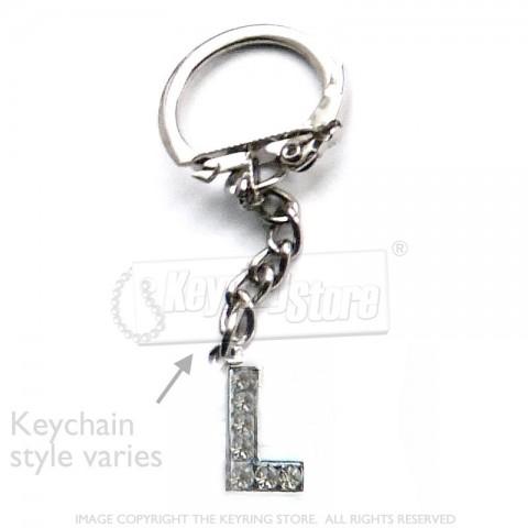 Letter L Diamante Charm Keyring