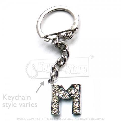 Letter M Diamante Charm Keyring