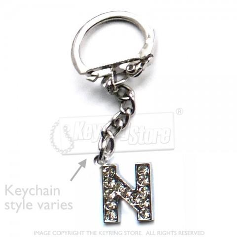 Letter N Diamante Charm Keyring