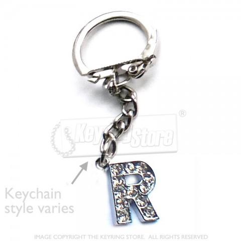 Letter R Diamante Charm Keyring