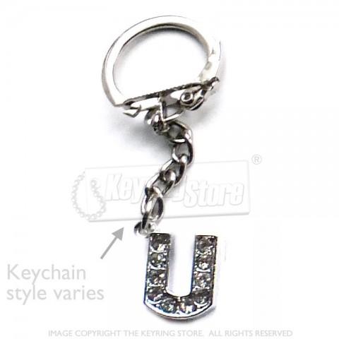 Letter U Diamante Charm Keyring