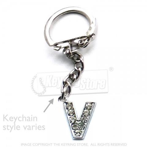 Letter V Diamante Charm Keyring