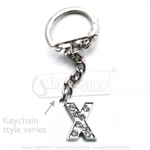 Letter X Diamante Charm Keyring