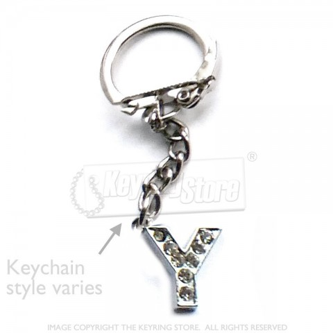 Letter Y Diamante Charm Keyring