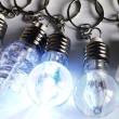 PACK 6 LED Light Bulb flashing keyring