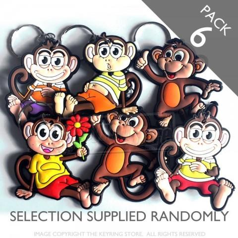 Cheeky Monkey Keyrings - Pack 6