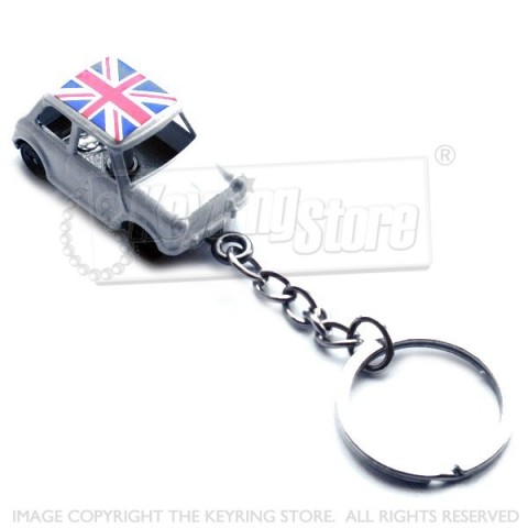 Austin Mini Car Keyrings - White - Union Jack