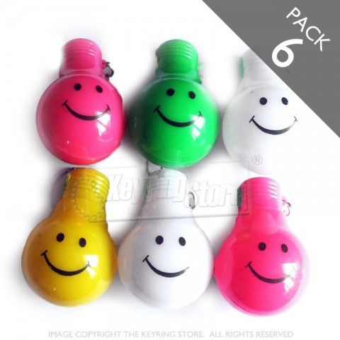 Smiley Light bulb LED keyrings - Pack 6