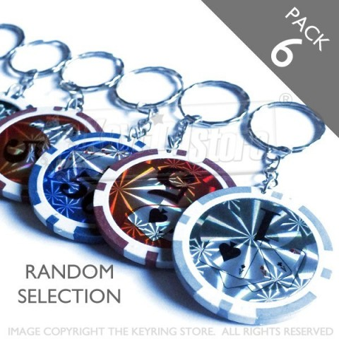 Casino Poker Chip Keyring - Pack 6