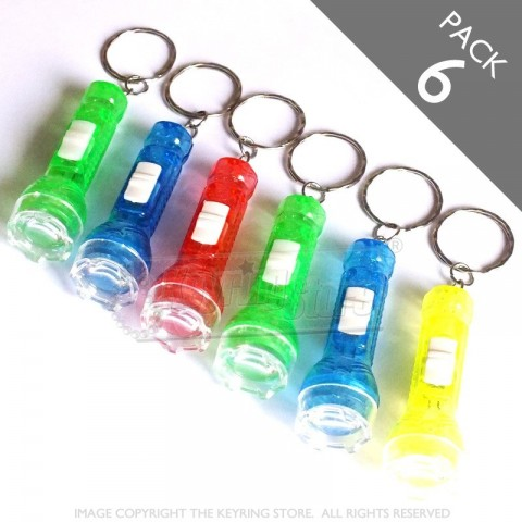 Multicolour LED Torch Keyrings - Pack 6