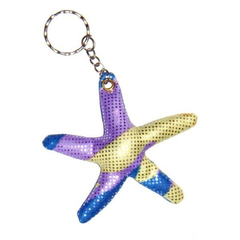 Star Fish blue Sand-filled keyring
