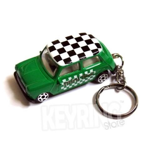 Austin Morris Mini Car Keyring - Green - Chequered Roof