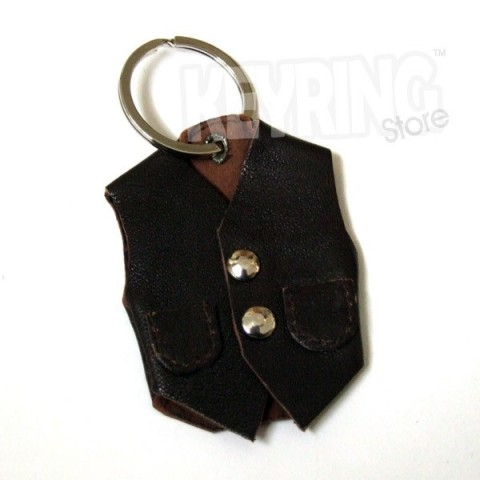 Leather Brown Waist Coat Keyring