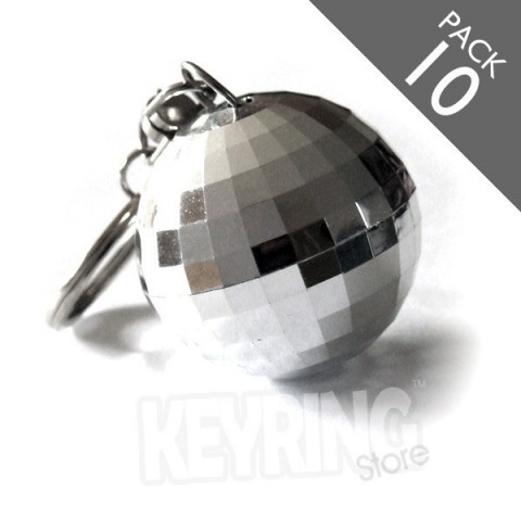 Ultimate Chrome Silver Disco ball keyrings - pack 10