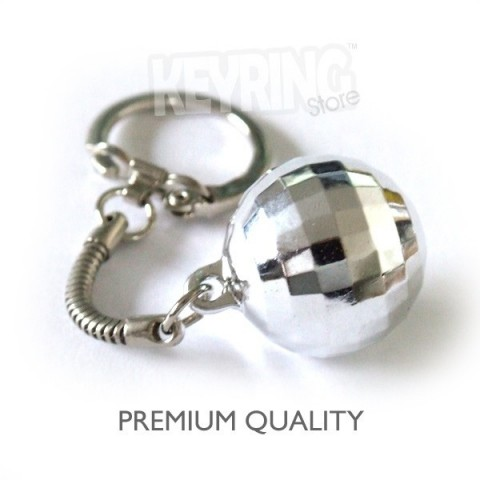 Premium Chrome Silver Mini Disco ball keyring